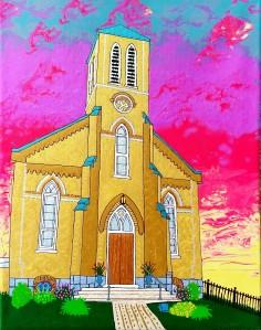 Painting of Hampton Church by Brad Cowan 2019